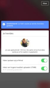 Facebook Live Video persoonlijk profiel stap 5