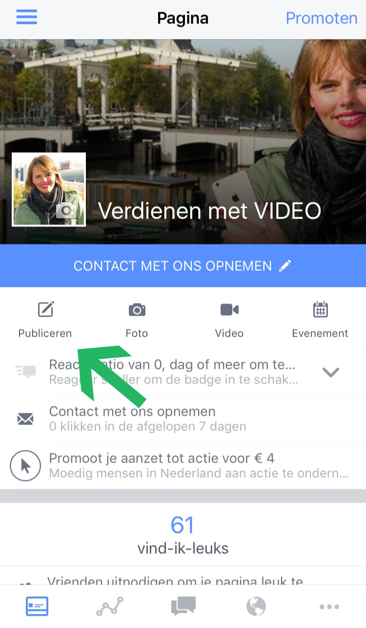 Facebook Live Video zakelijke pagina stap 1