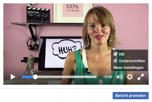 Geluid aan ondertiteling uit in Facebook video