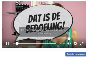 Geluid uit ondertiteling aan in Facebook video