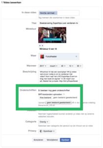 Ondertiteling toevoegen aan je Facebook video via je persoonlijke profiel stap 3
