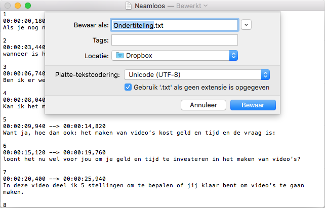 Ondertiteling video txt-bestand opslaan in Unicode UTF-8 indeling