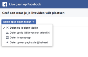 Facebook Live via je computer met obs stap 1