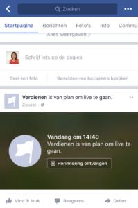 Facebook Live uitzending inplannen met OBS herinnering ontvangen