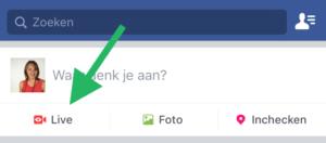 Facebook Live Video via je smartphone stap 1