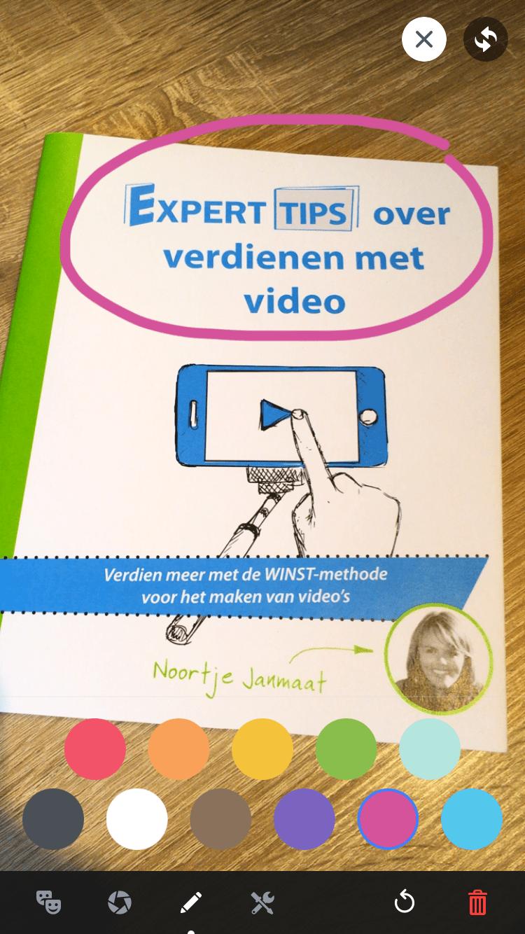 Facebook Live Video via-je smartphone stap 6 tekenen met kleur