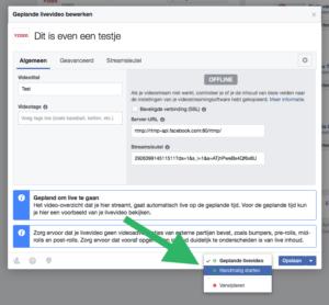 Facebook live video handmatig starten