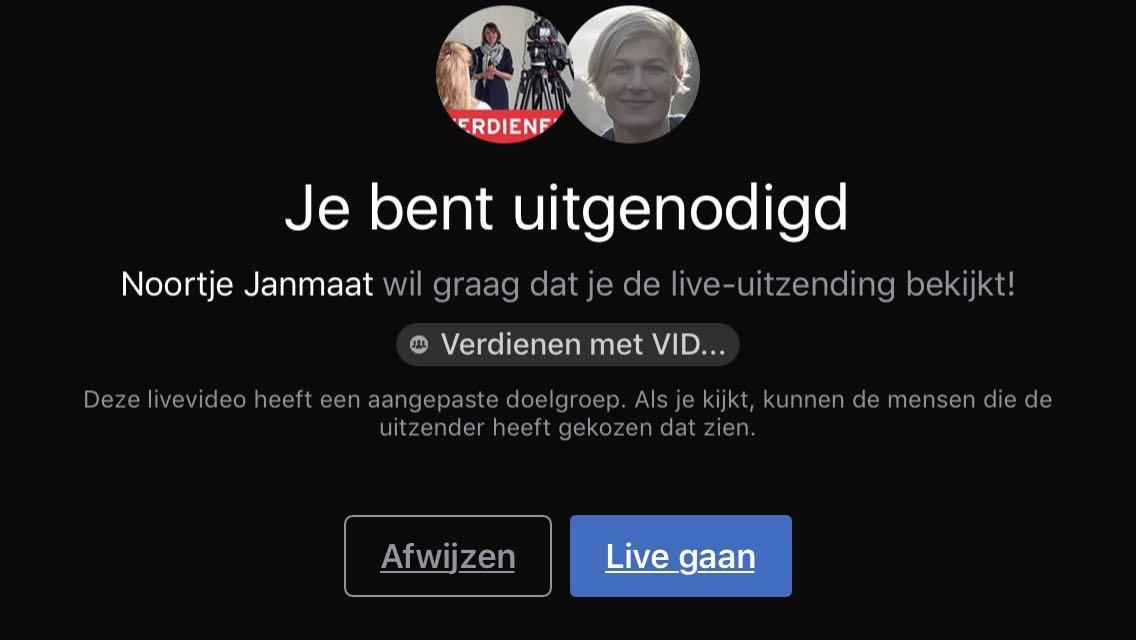 Facebook Live video met-2 personen melding die live kijker krijgt