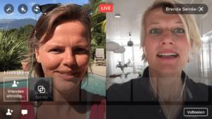 Facebook Live video met 2 personen splitscreen-weergave