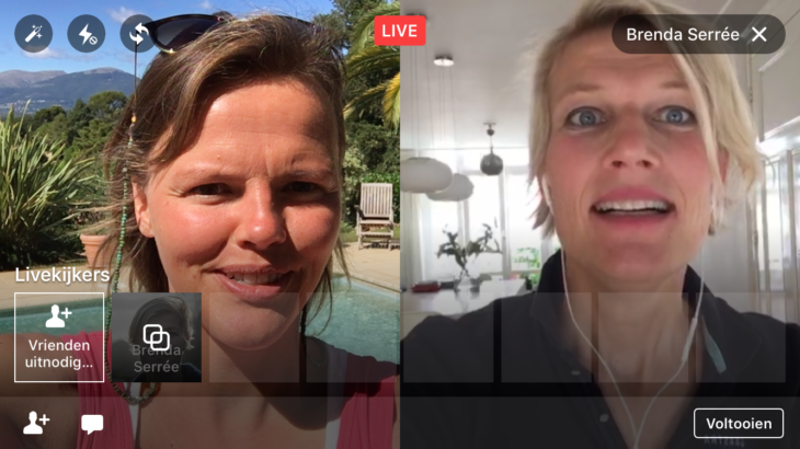 Facebook Live video met 2 personen splitscreen-weergave