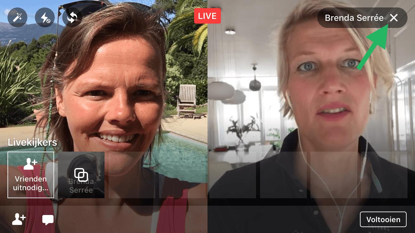 Facebook Live video met 2 personen nieuwe gast uitnodigen