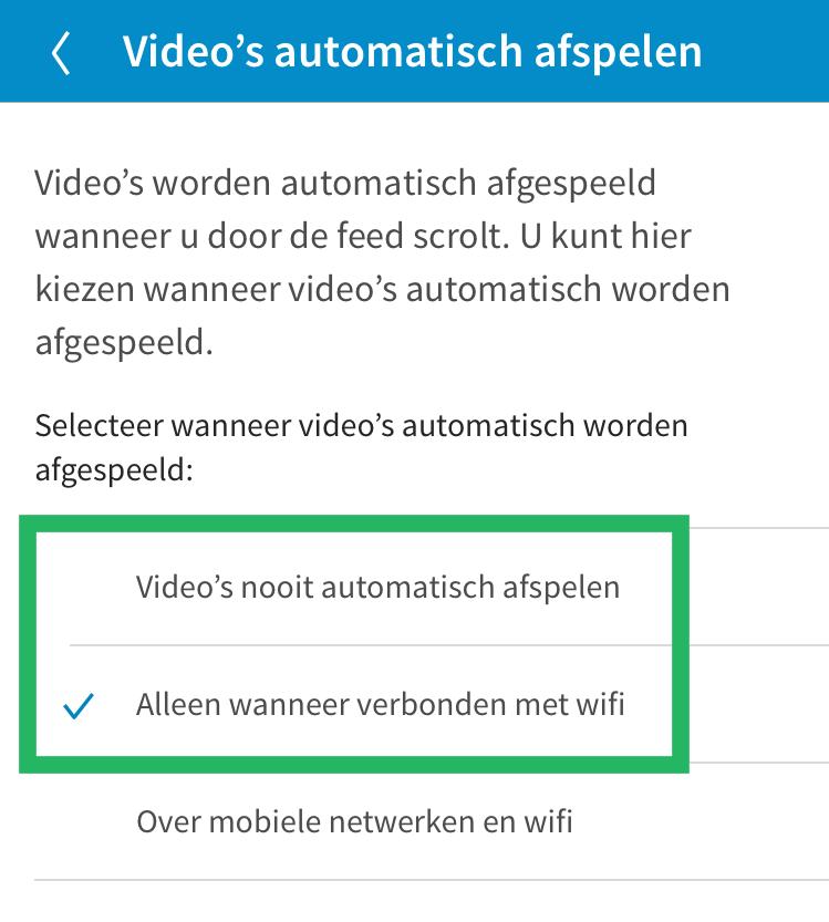 LinkedIn video automatisch afspelen uitzetten stap 2