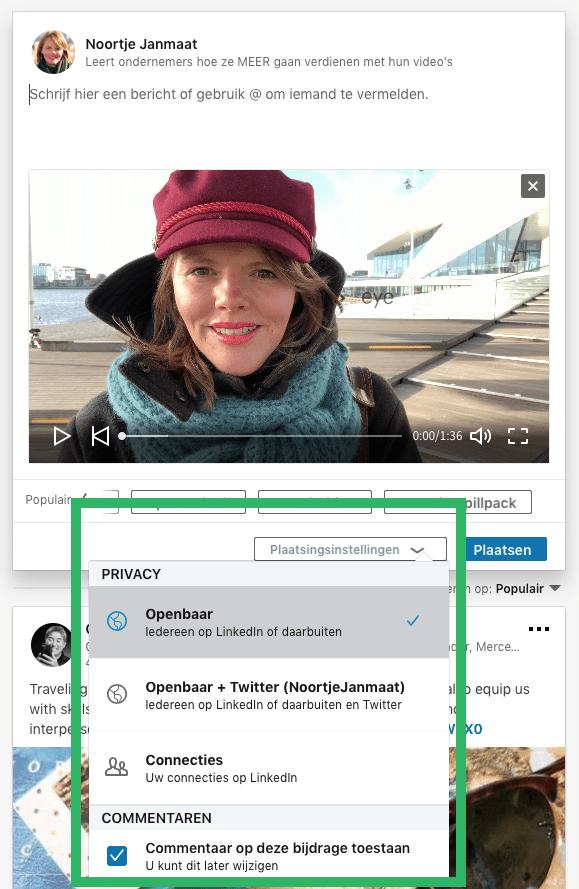 LinkedIn video delen via computer stap 2