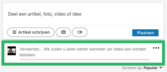 LinkedIn video delen via computer stap 3