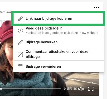 LinkedIn video delen via computer stap 5
