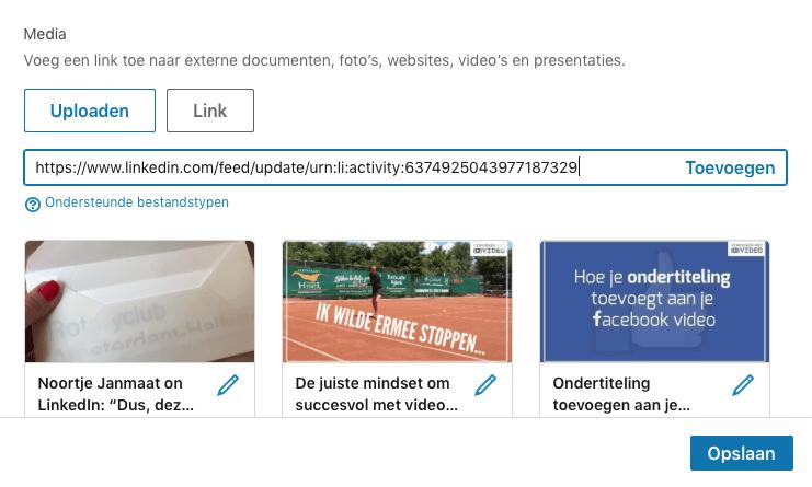 LinkedIn video delen via je computer stap 6