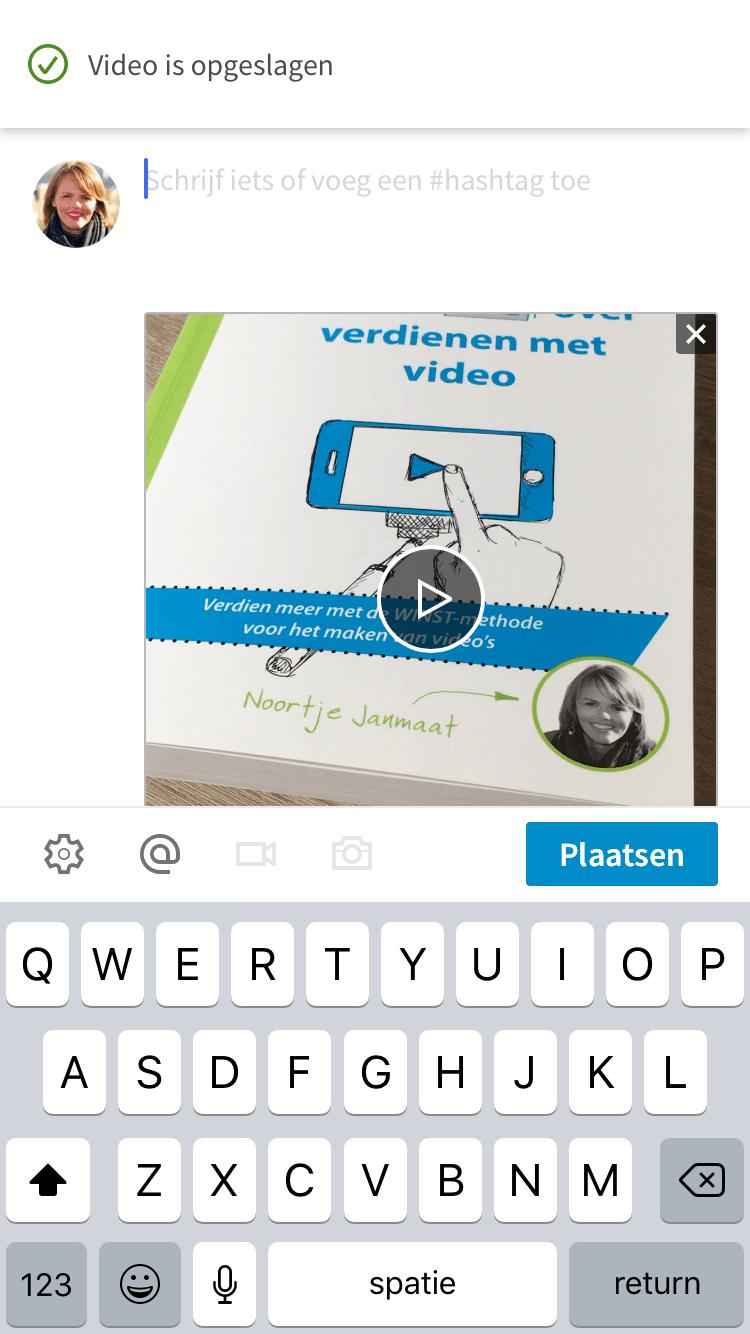 LinkedIn video toevoegen via mobiele app stap 6
