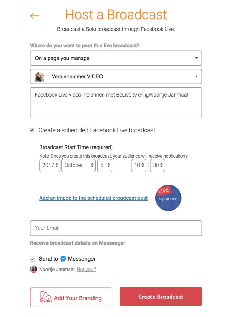 Facebook Live video inplannen met BeLive tv stap 2