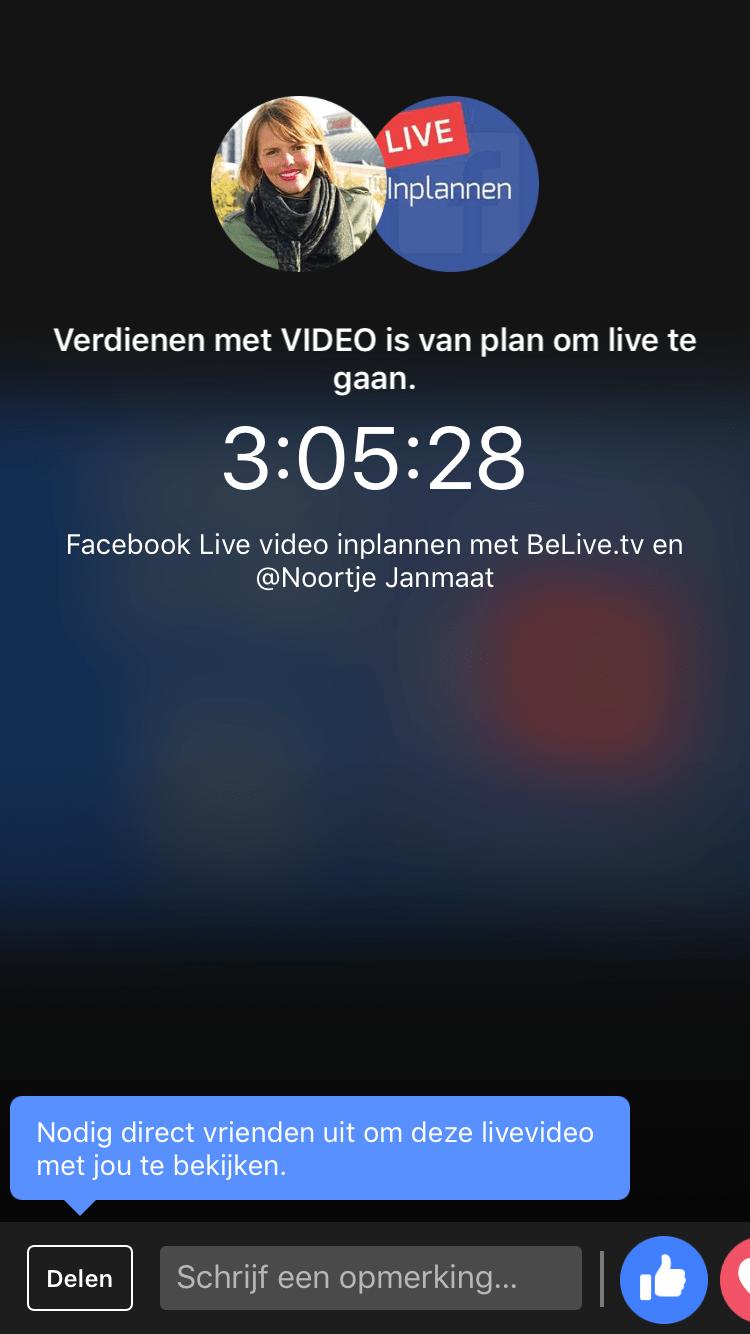 Facebook live video inplannen met Belive tv melding op smartphone