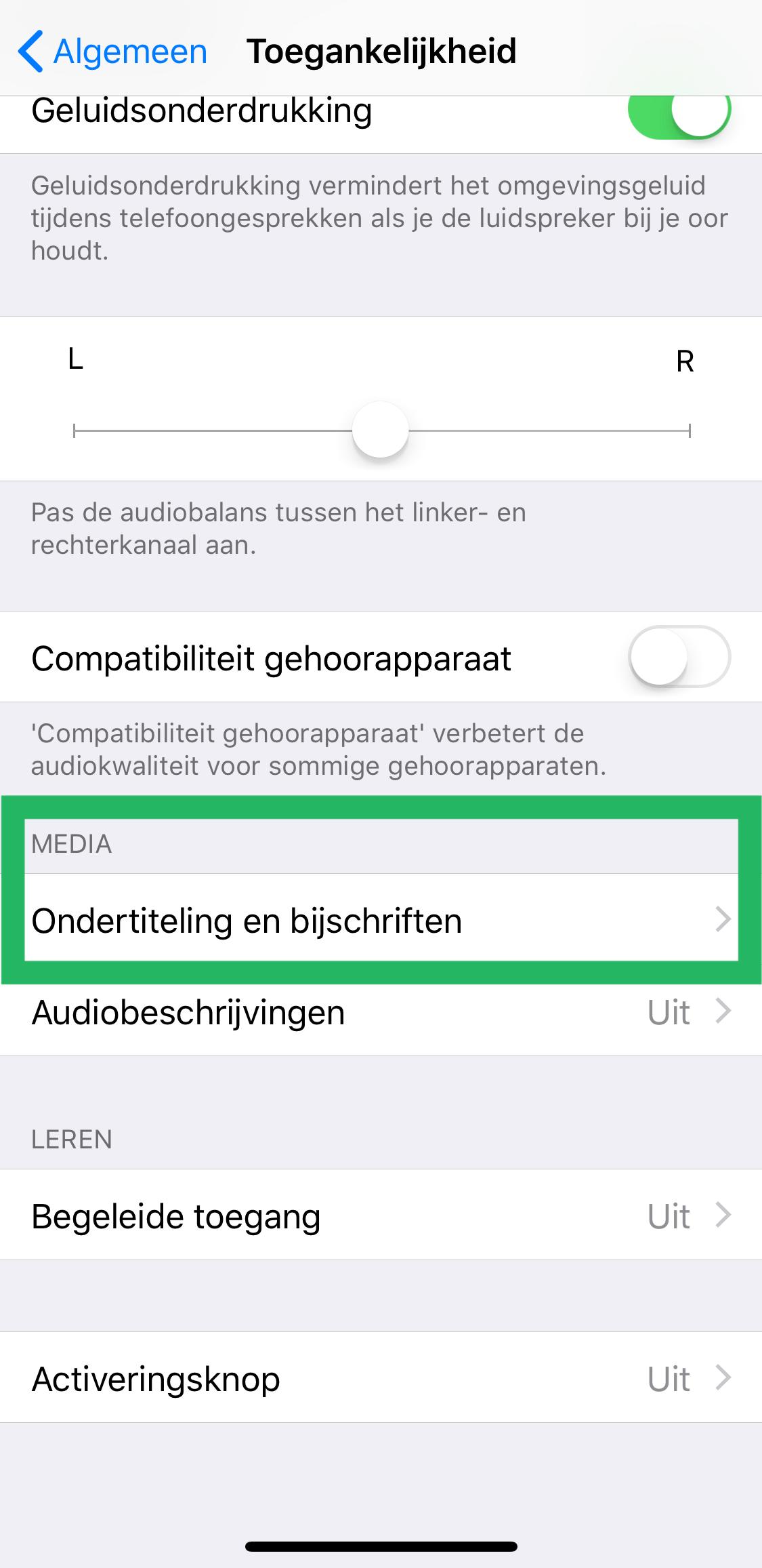 Ondertitels aanzetten op iPhone stap 2
