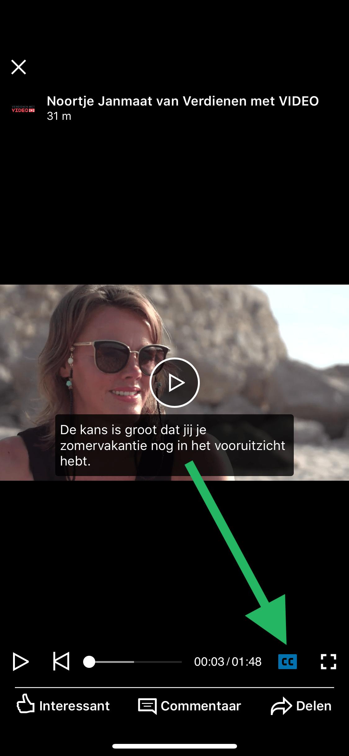 LinkedIn native video met ondertiteling weergave mobiele app