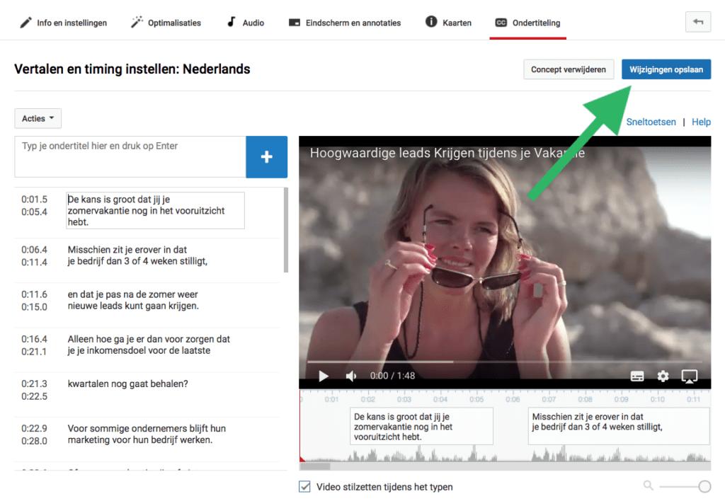 Ondertiteling YouTube video aanpassen opslaan