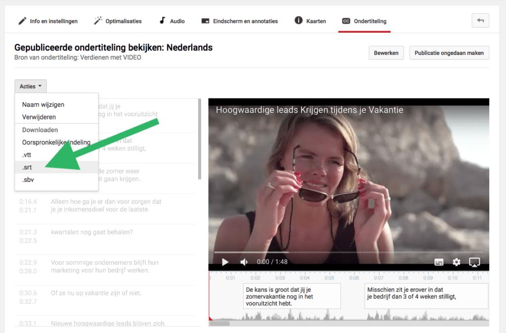 Ondertiteling YouTube video srt bestand downloaden