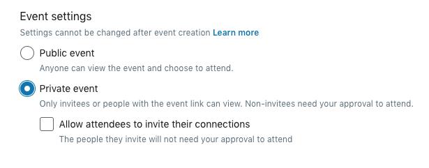 Hoe maak ik een LinkedIn event aan stap 2 Openbaar of besloten event