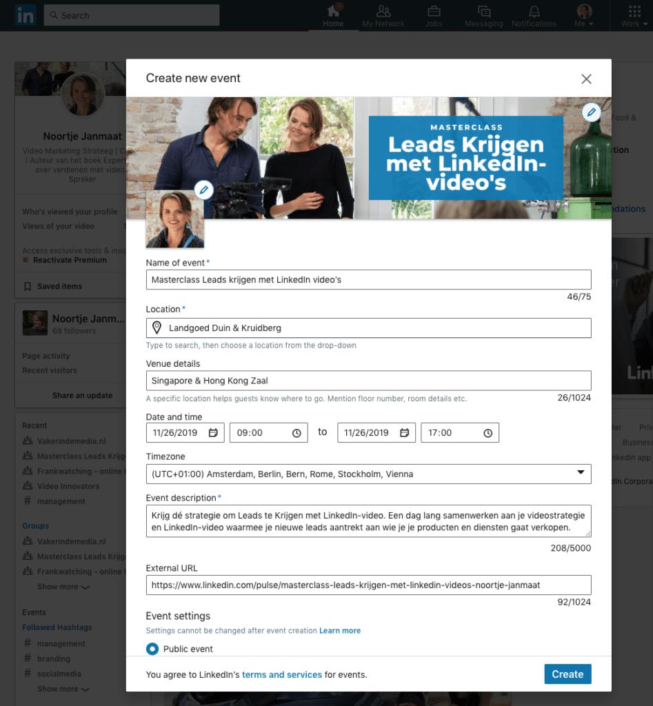 Hoe maak ik een LinkedIn event aan stap 2