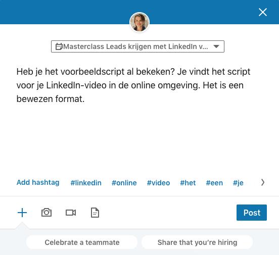 Hoe maak ik een LinkedIn event aan stap 5 Update posten