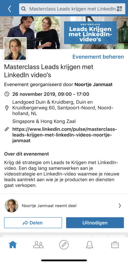 LinkedIn events via mobiele app smartphone
