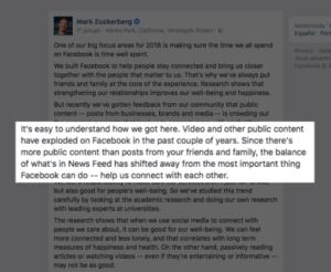 Video op Facebook of YouTube aankondiging Mark Zuckerberg