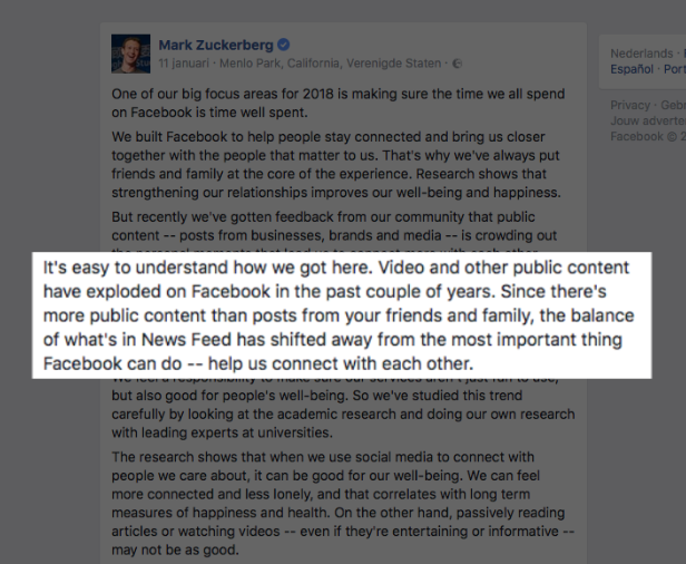 Video op Facebook of YouTube aankondiging Mark Zuckerberg