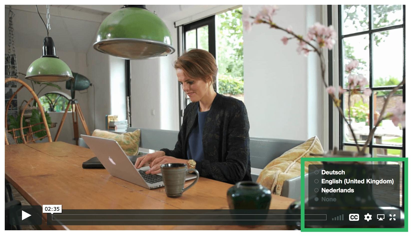 Ondertiteling taal selecteren in Vimeo
