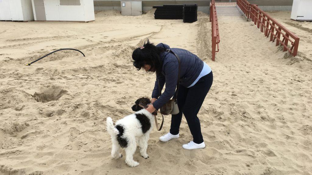 Katinka Michiels van Power2Bloom met hond op het strand Wenduine