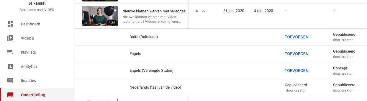srt bestand downloaden van YouTube