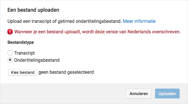 srt bestand maken via YouTube bestand uploaden