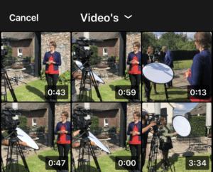 LinkedIn native video plaatsen selecteren camerarol
