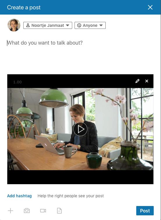 LinkedIn video plaatsen via computer stap 5