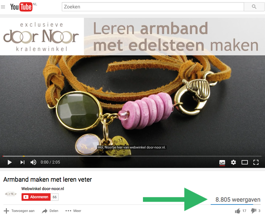 YouTube video zoekresultaten webshop door Noor