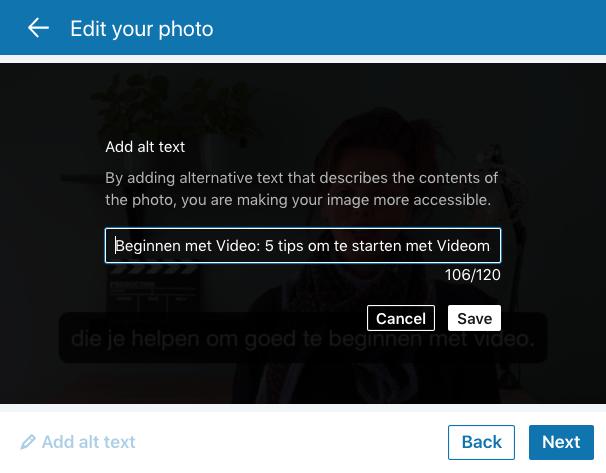 LinkedIn video GIF-animatie delen add alt text 120 tekens