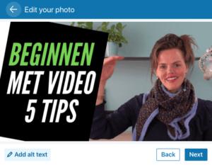 LinkedIn video GIF-animatie delen add alt text