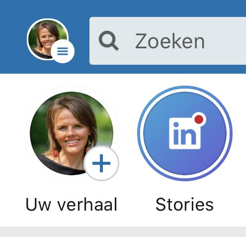 LinkedIn Stories maken Selecteer LinkedIn profiel
