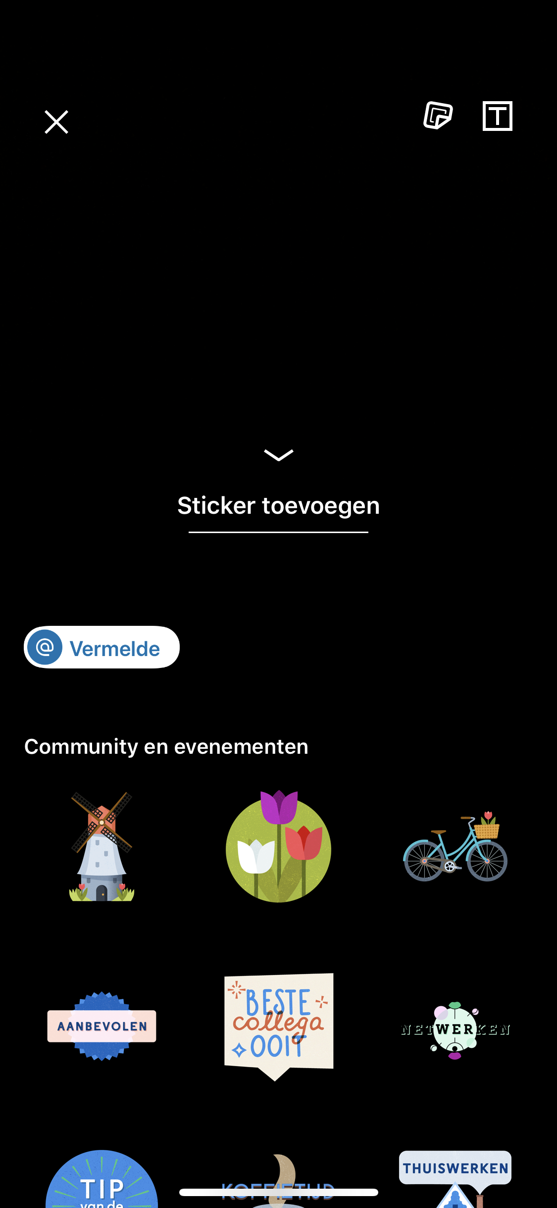 LinkedIn Stories maken Stickers toevoegen aan verhaal