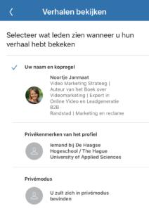 LinkedIn Stories privacy instellen als kijker