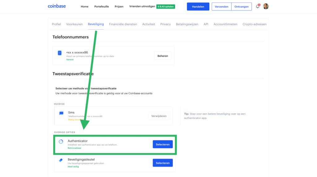 Coinbase account beveiligen authenticator