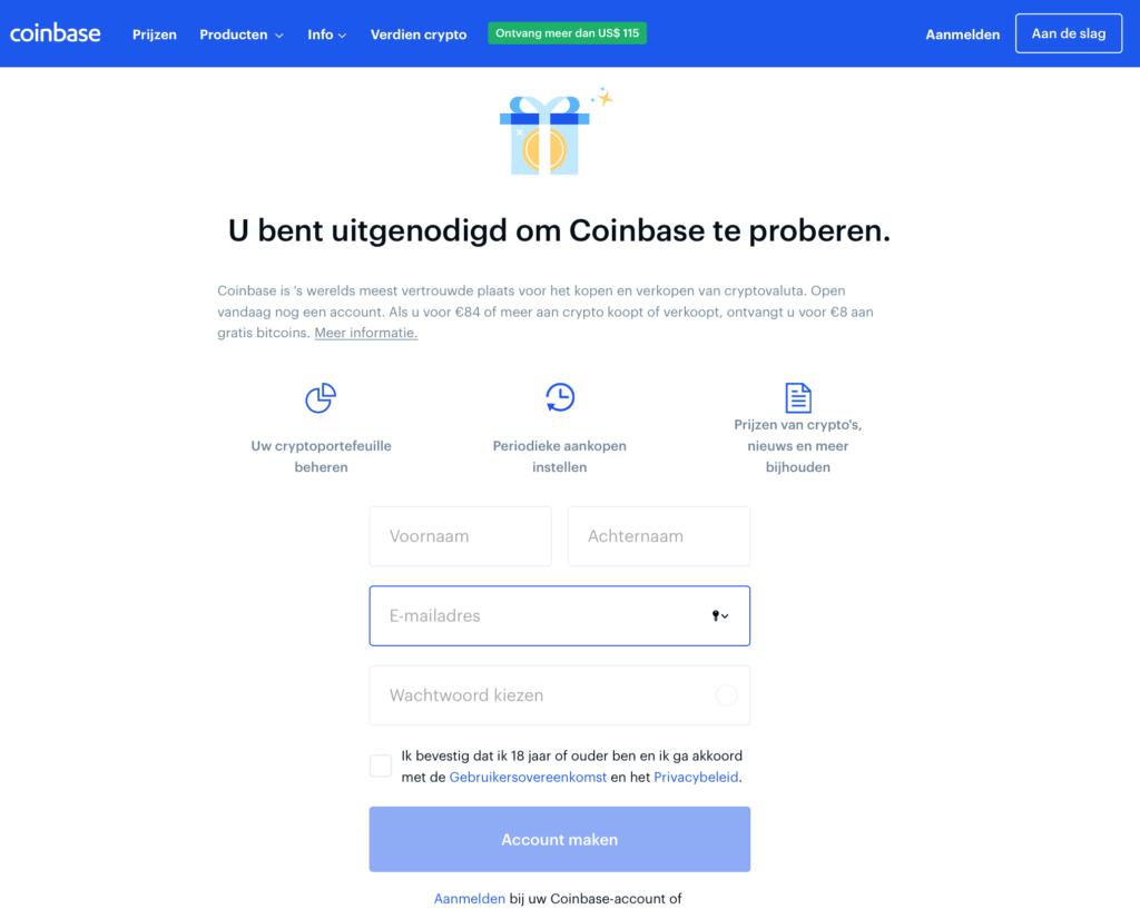 Coinbase account maken