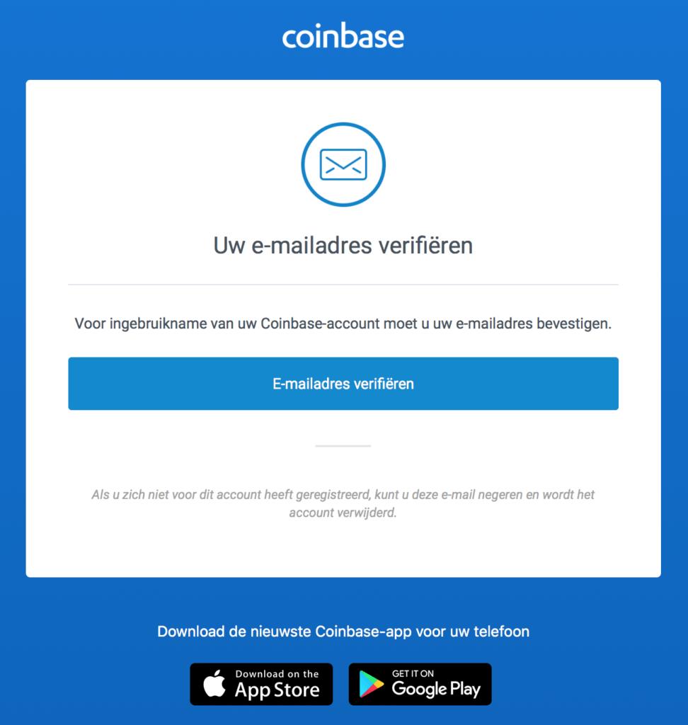 Coinbase account maken e-mailadres verifiëren