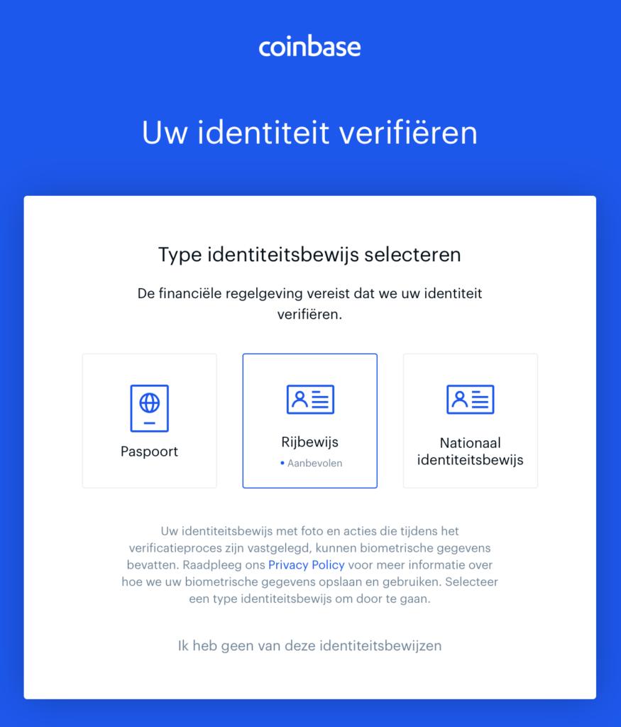 Coinbase identiteitsbewijs verifiëren