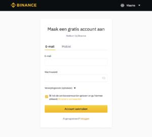 Binance Account Maken stap 1